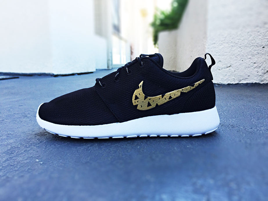 new photos 52d19 6a76f ... authentic womens custom nike roshe run shoes gold and black tribal  design triangles trendy design 95513