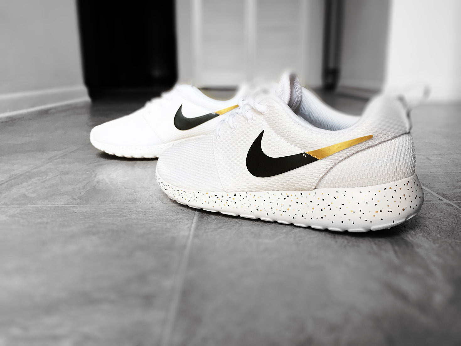 ... custom nike roshe run sneakers for women all white black and gold s .