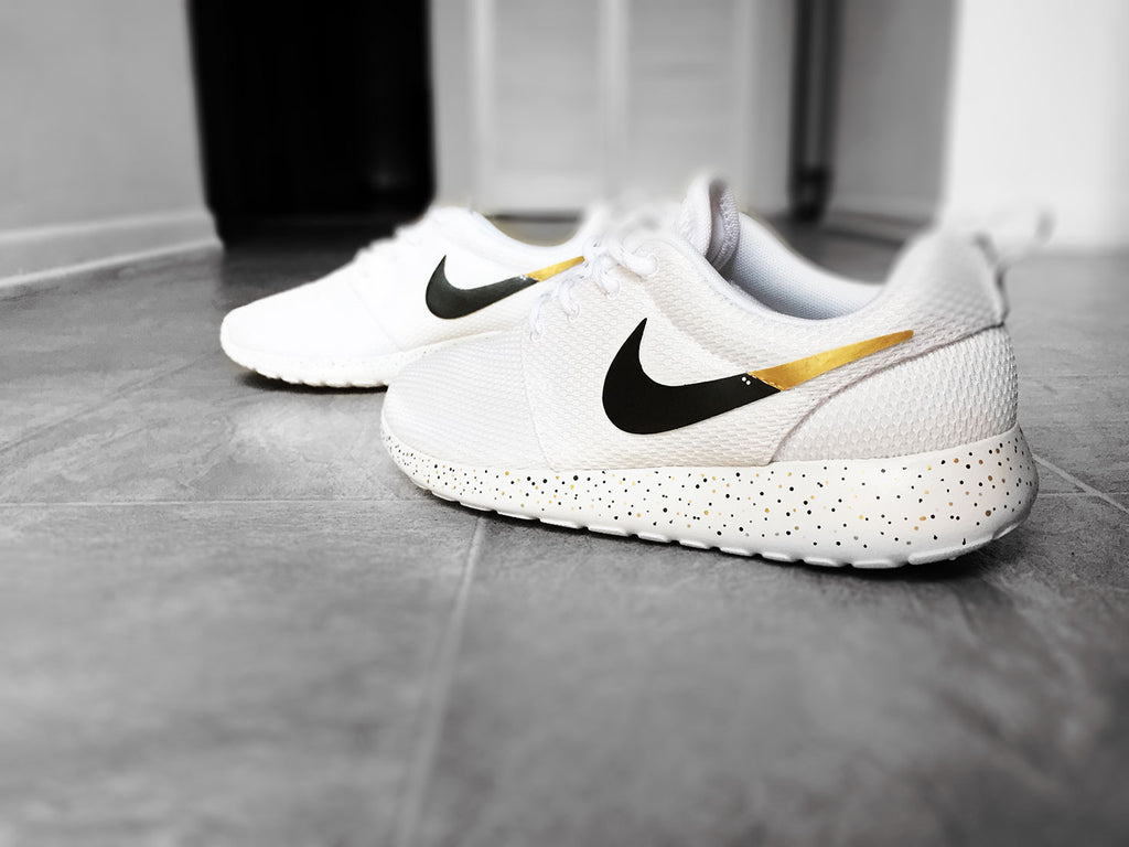 online retailer c4158 09dca Custom Nike Roshe Run sneakers for women, All white, Black and Gold, S –  CustomSneakZ