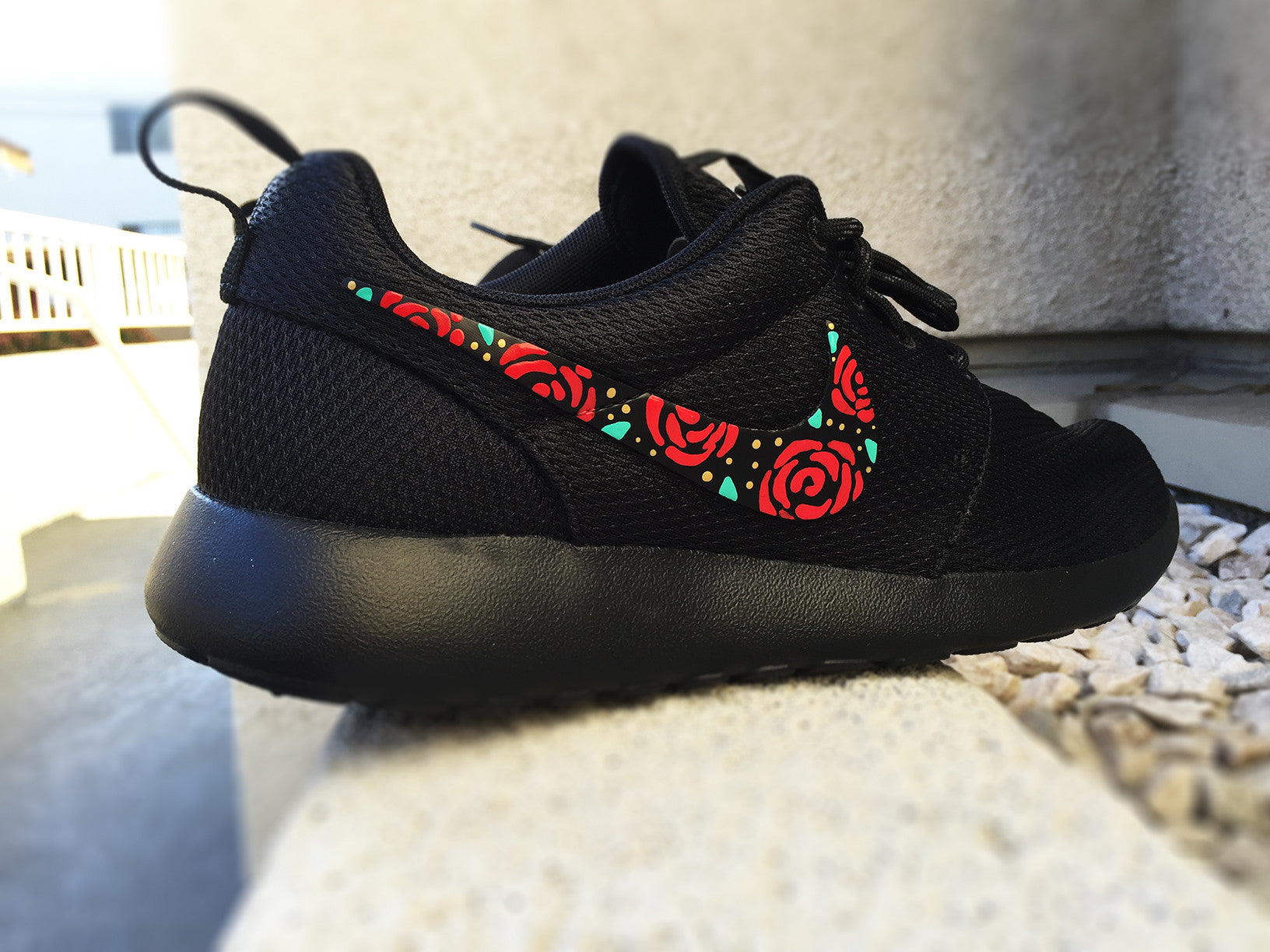 online store 9b0ab f4b7a Nike Roshe Custom Design, Floral Design, Roses, Hand Painted, Gold  Speckles, Red and Gold with Teal Accent, Custom Roshe Run, women and men