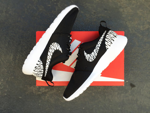 Custom Nike Roshe Zebra Print design, Cheetah design, Black and White, hand painted, Womens sizes