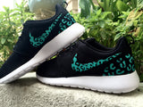Custom Nike Roshe Run sneakers, teal blue cheetah print, leopard print, womens custom nike roshe cute trendy design Limited Stock