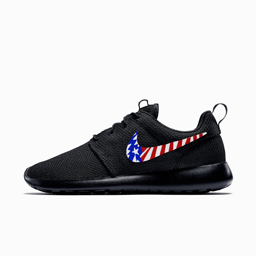 20812cd3bcf9 Nike Roshe Run Black White American Flag