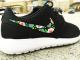 Custom Nike Roshe Run Floral design, Custom floral hand painted, Lilac floral, flowers, violet mauve and lavender, Men and Women