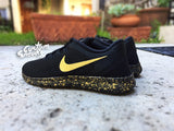 Custom Nike Free Run, Nike Free Runs, Black and Gold, Black, Gold, Splatter design, Mens and Womens, LIMITED STOCK!