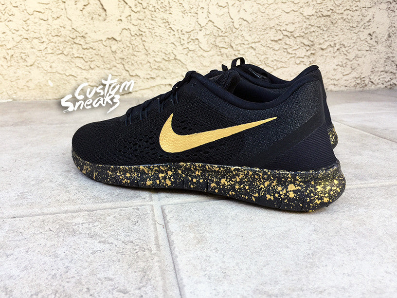 official photos 2049c 06a98 Custom Nike Free Run, Nike Free Runs, Black and Gold, Black, Gold, Splatter  design, Mens and Womens, LIMITED STOCK!