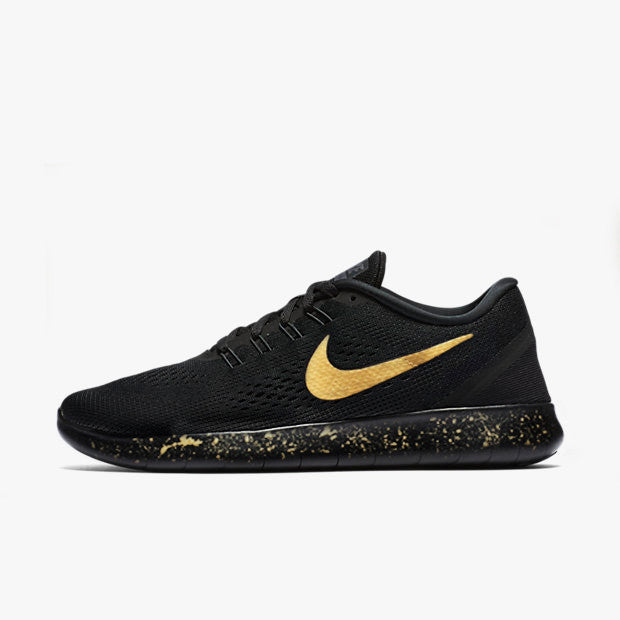 Womens and Mens Custom Nike Free Run, Nike Free Runs, Black and Gold, Black, Gold, Splatter design, Gold splatter design, LIMITED STOCK!