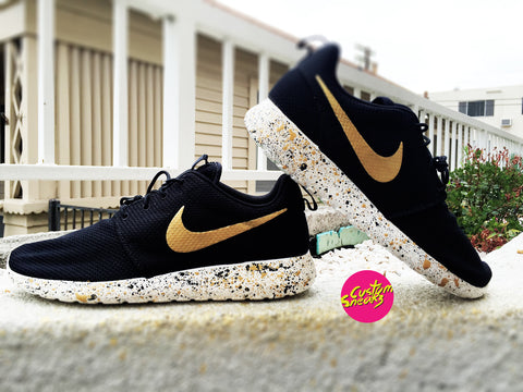 Custom Roshes, Custom Nike Roshe Black and Gold splatter design, Mens and Womens, Unisex sizes