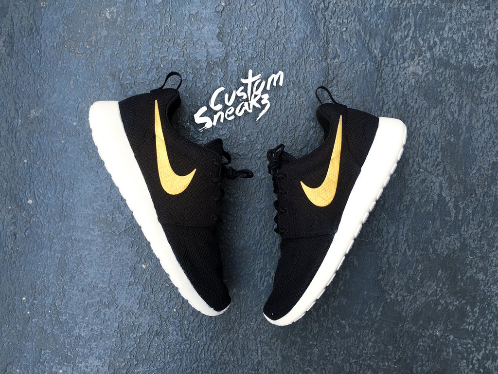 Custom Nike Roshe Gold Swoosh for Men and Women, Minimalistic design, gold tick