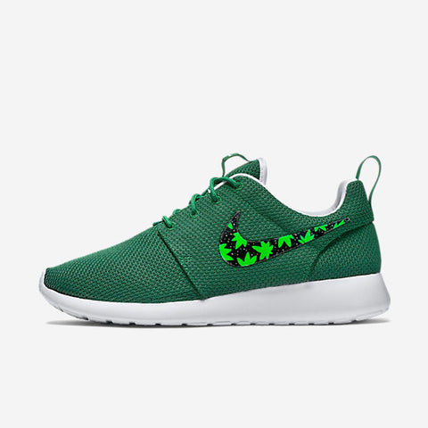 Custom Nike Roshe Cannabis, cannabis, weed, 420 design, cannabis plant, hand painted with gold speckles,