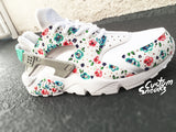 Nike Huarache Custom Floral for Women, White on White Womens Custom Nike Huarache, Teal blue, Hand Painted