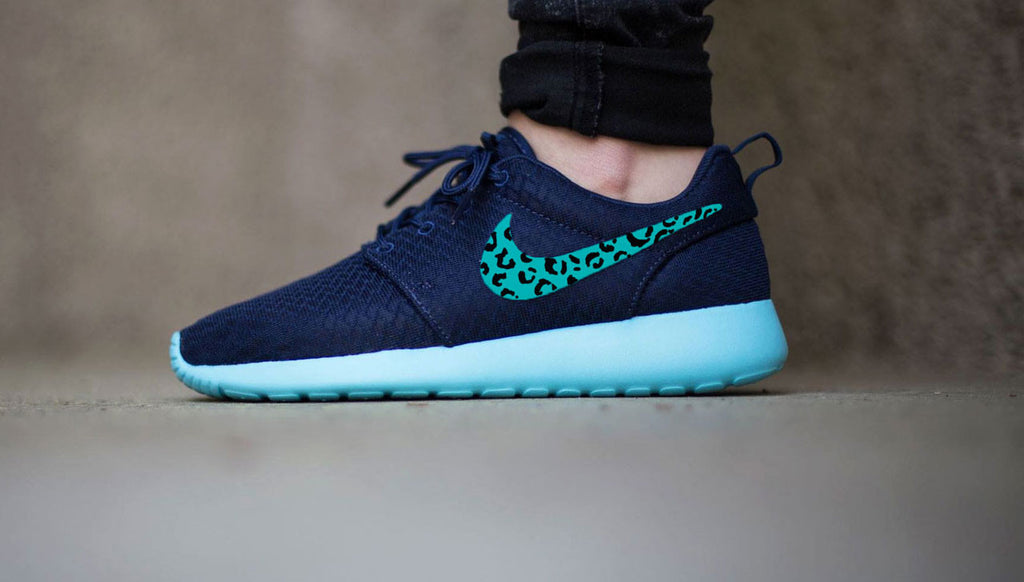 Nike Roshe Custom Cheetah design, Womens Midnight Navy blue custom nike roshe run, teal blue leopard print