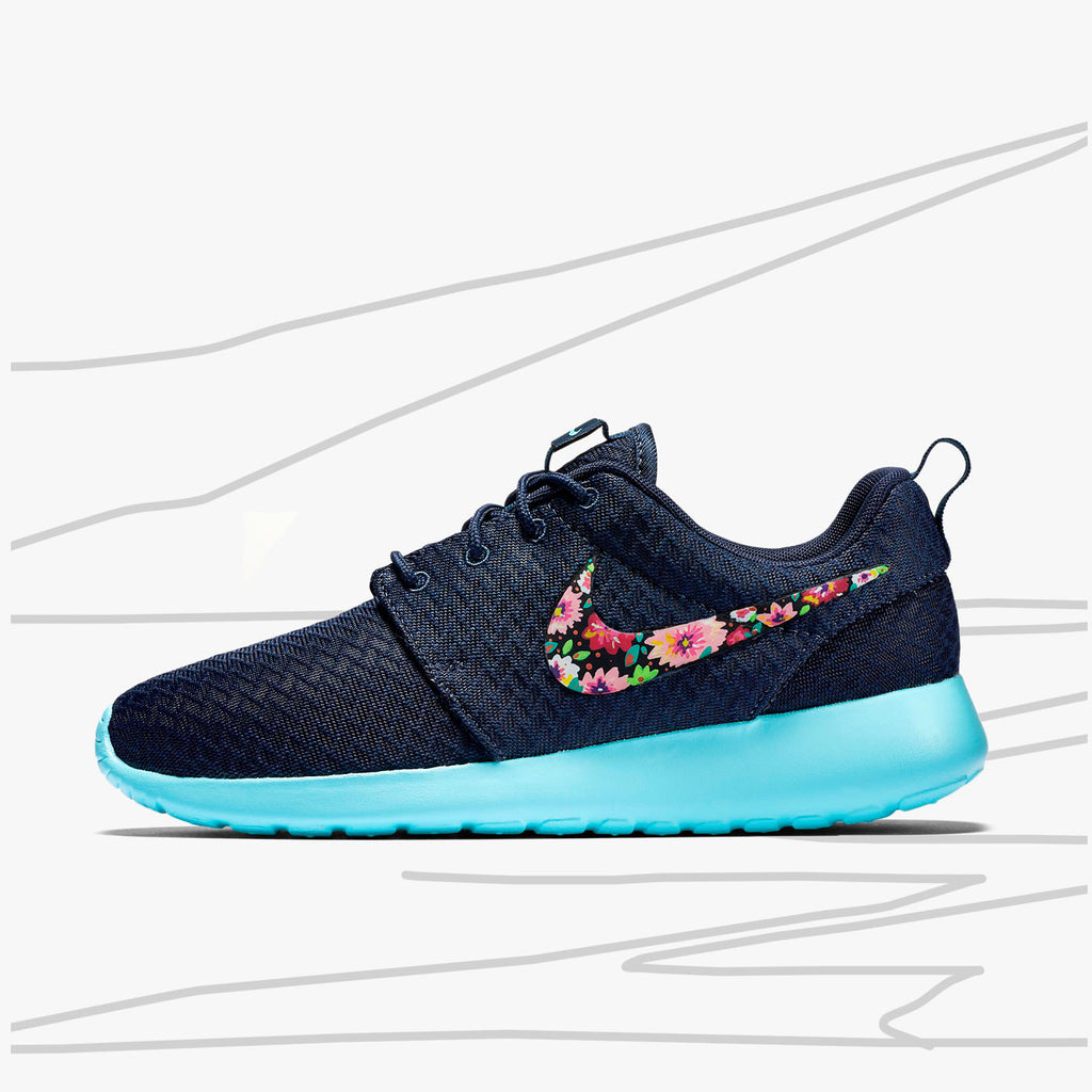 newest 049e1 8a4a4 ... spain custom nike roshe run floral design hand painted floral lilac flower  womens nike 25c86 13cc2