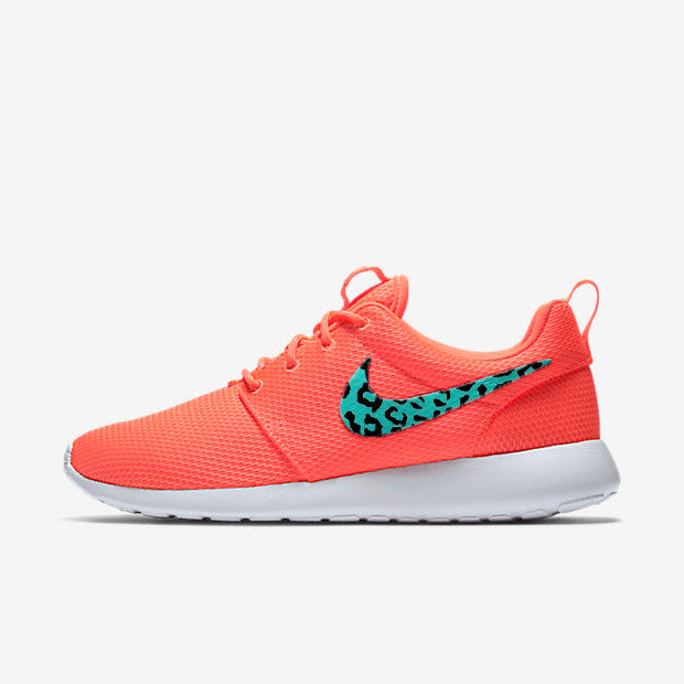 Womens Custom Nike Roshe lava red and teal leopard design, custom design, teal with black cheetah design, animal print LIMITED COLOR!