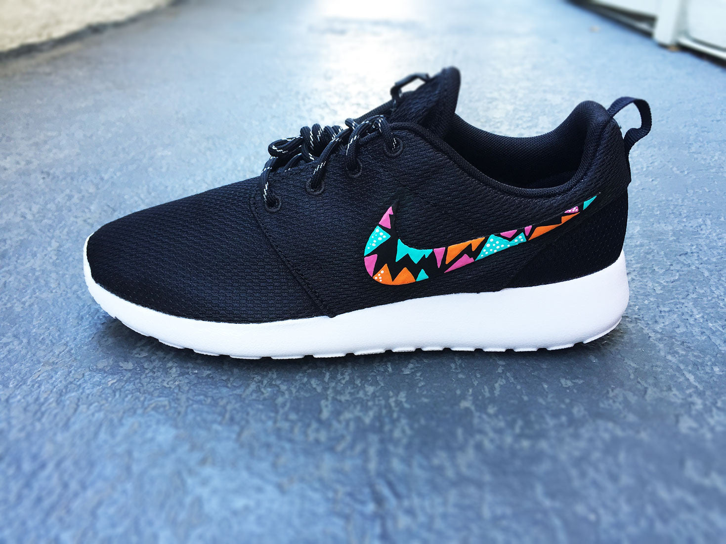 low priced 6a87f 12ac5 Womens Custom Nike Roshe Run sneakers, triangle tribal design, hot pink,  teal and orange, trendy fashion design, cute womens shoes