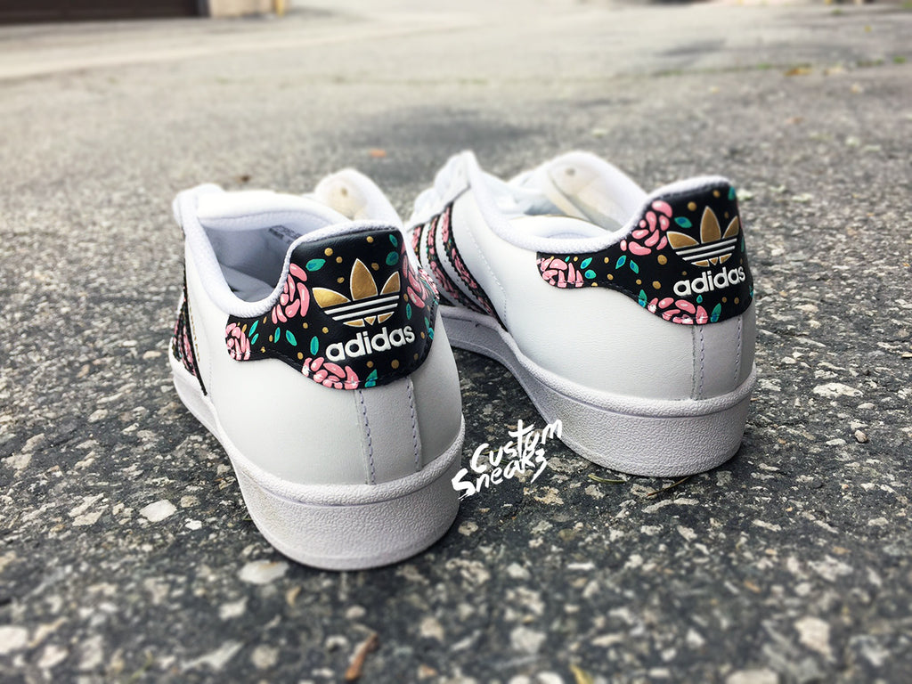 reputable site 11978 05d91 Womens Custom Adidas Superstars, Floral design, pink green and gold, Gold Custom  Superstars