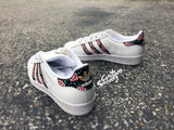 Womens Custom Adidas Superstars, Floral design, pink green and gold, Gold Custom Superstars