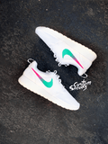 Custom Roshes, Womens Nike Roshe Custom, White on White, pink, teal, trendy design, all white nike roshe
