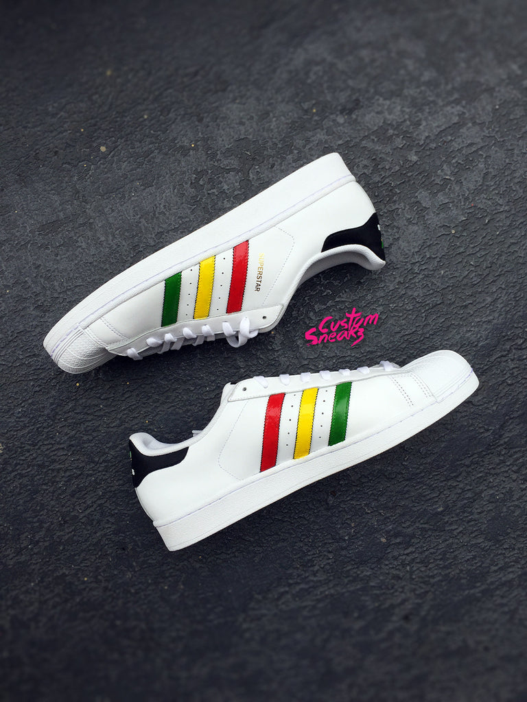Custom Adidas Rasta, Mens and Womens rasta design, One love