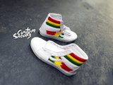 Custom Vans, Vans Sk8 HI custom rasta design, Rastafari Vans, Mens and Womens