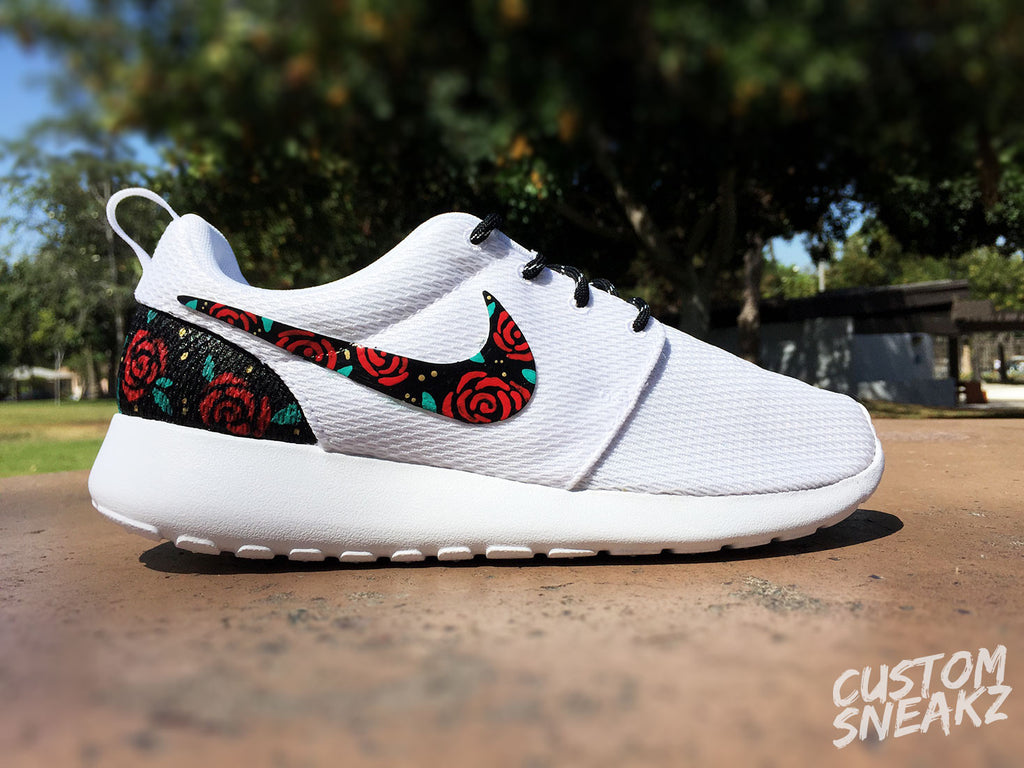 Womens Custom Nike Roshe Run sneakers, Rose Gold design, Red Roses with teal leaves and gold speckles, Custom roshe run roses