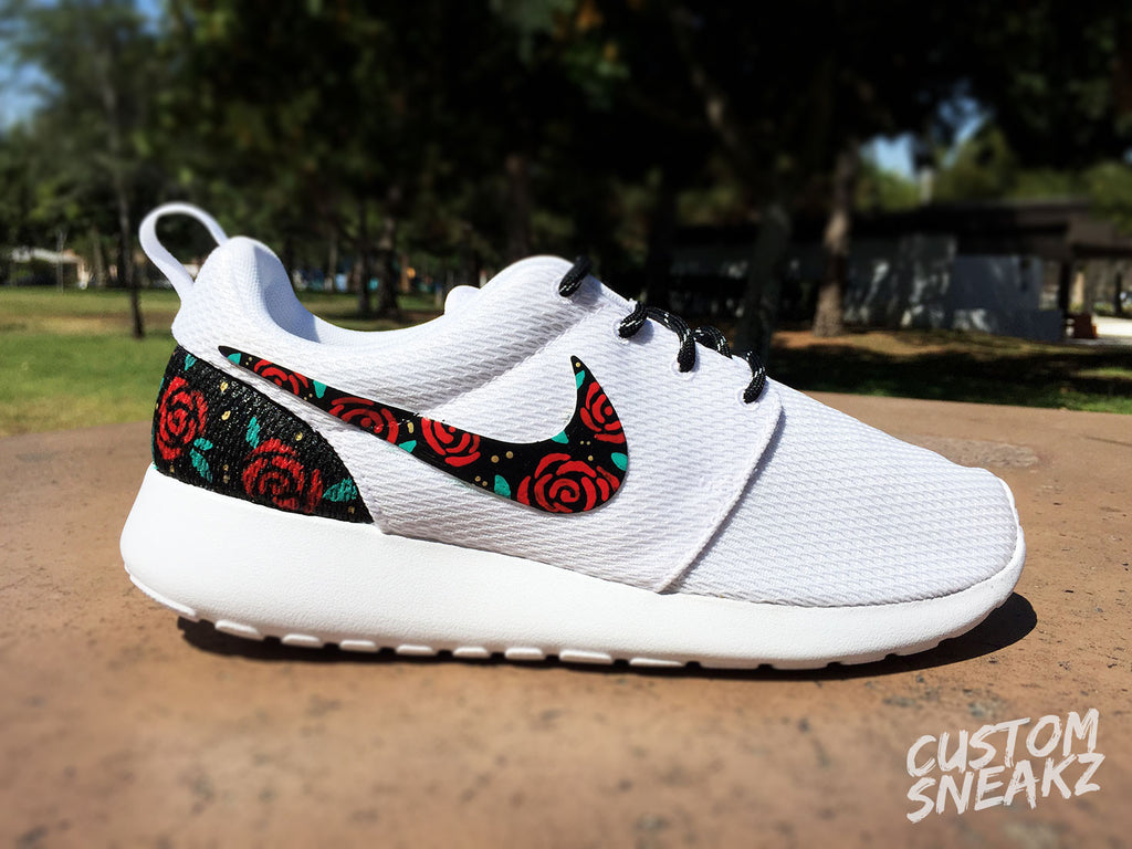 outlet store b71f4 ad75c ... Red Womens Custom Nike Roshe Run sneakers, Rose Gold design, Red Roses  with teal leaves ...