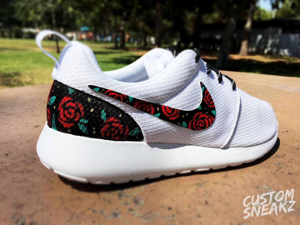 new concept 12304 a0d3c Womens Custom Nike Roshe Run sneakers, Rose Gold design, Red Roses with  teal leaves