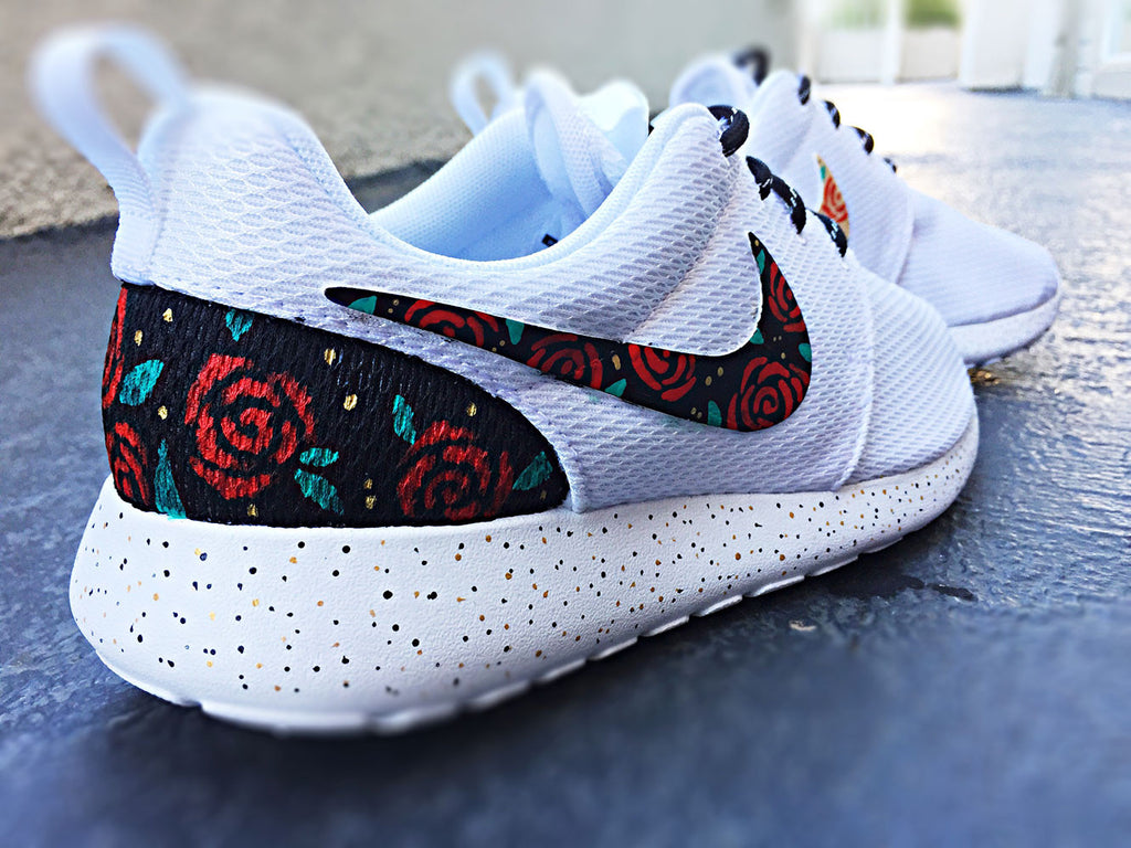 new product 3dc83 c0f21 ... closeout custom nike roshe run rose design floral custom roshe rose  gold design red d1a58 9fdcc