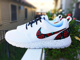 Custom Nike Roshe Run Rose design, floral custom roshe, Rose Gold design, Red Roses with teal leaves and gold speckles, Custom roshe run roses