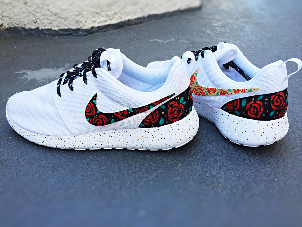 watch 5db13 0865f Custom Nike Roshe Run Rose design, floral custom roshe, Rose Gold design,  Red