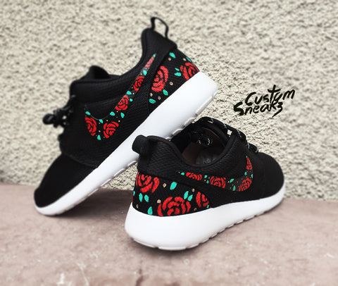 Custom Roshe for men and women, Nike Custom Roshes, Floral design, bed of roses, unisex sizes available