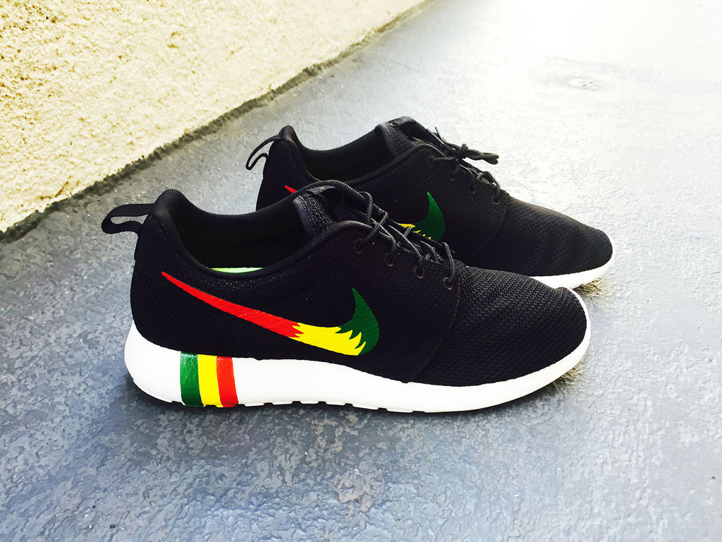 5f441bdeae78 Womens and Mens Custom Rastafari color Nike Roshe Run custom design ...