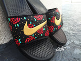 Custom Nike Benassi Flip Flop Sandals, Mens Gold Custom Design, Floral, Roses, Swoosh Slide Sandals