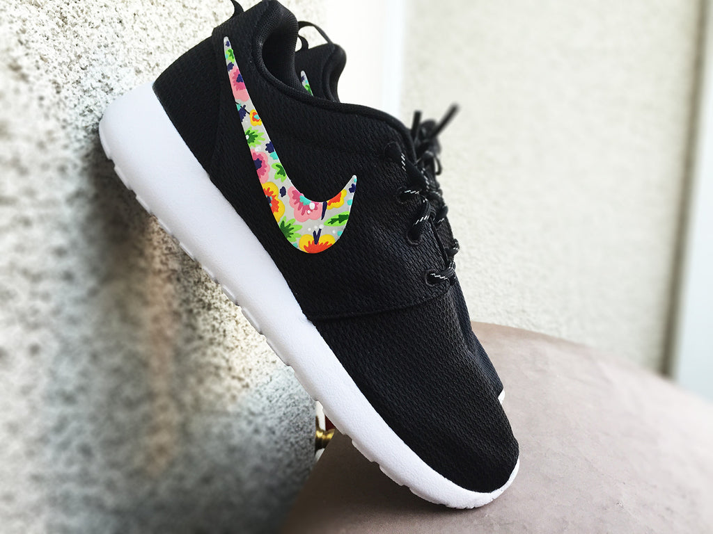 Womens Custom Nike Roshe Run shoes, Floral design, custom floral design for women, cute and trendy, colorful flowers