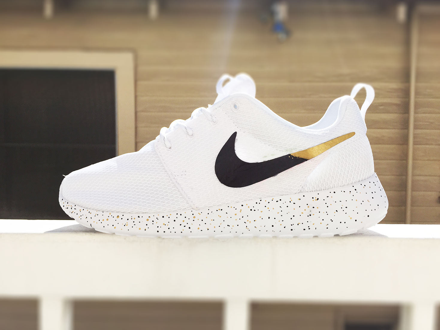 huge discount 12935 6732e Custom Nike Roshe Run sneakers for women, All white, Black and Gold,  Silver, specles, gold flakes, love, fashionable design