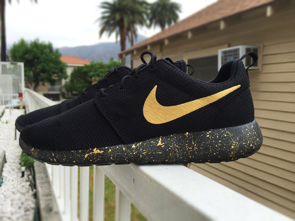 Womens and Mens Custom Nike Roshe, Black and Gold, Black, Gold, Splatter design, Gold splatter design, LIMITED STOCK!