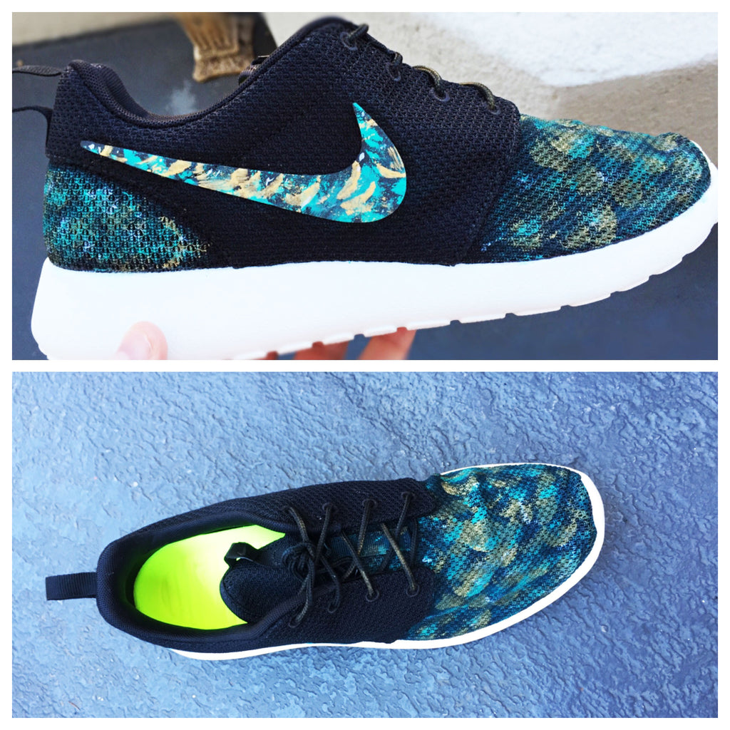 Mens custom nike roshe shoes, treasure hunt, 'marine treasure hunt' teal and gold design, hand painted, mens custom roshe run
