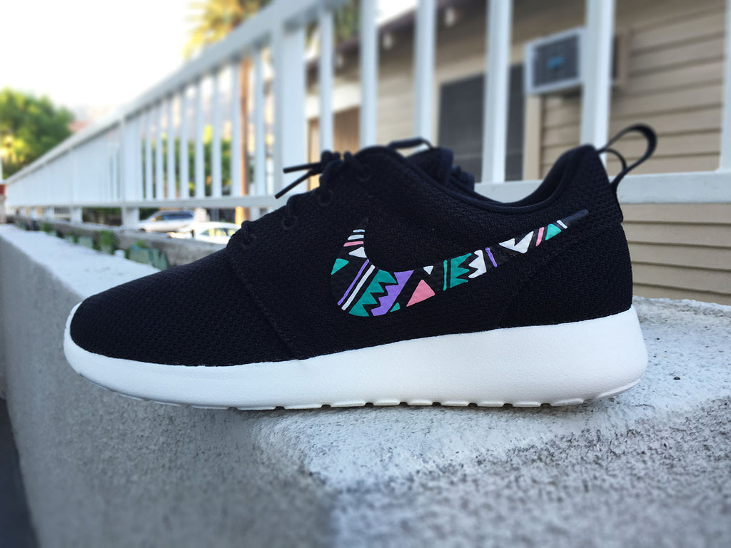 Nike Roshe Custom design, Tribal and Aztec inspired design, Teal blue, pink, purple, white, Unisex, Men and Women custom roshe