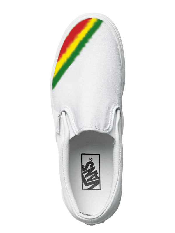 Womens and Mens custom Vans Slip-on Shoes, rasta design, unisex, Rasta colors, Red, Yellow, Green, Rastafari design