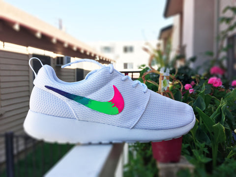 best service 06222 c4aa4 Custom Nike Roshe Run sneakers for women, All white, Rainbow gradient  design, Pink