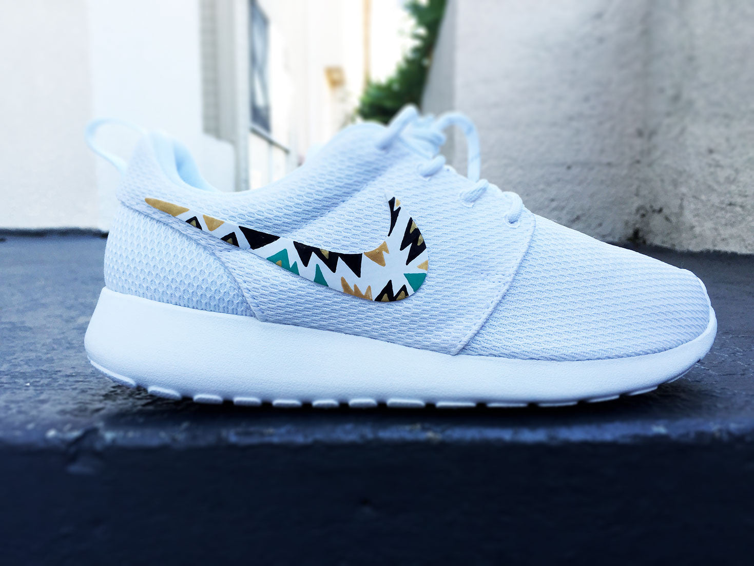Custom Nike Roshe Run sneakers for women, All white, Black and Gold,  Silver, tribal, triangle design, fashionable design