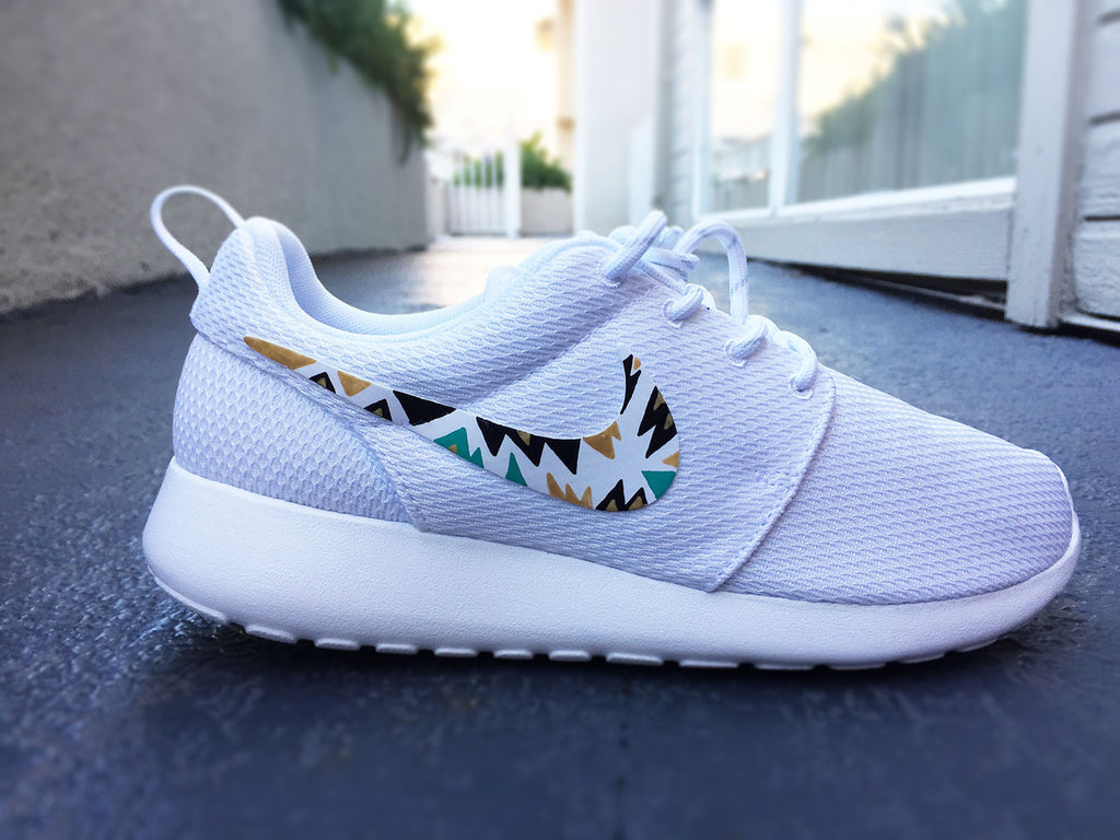 online retailer 1a722 6b39d Custom Nike Roshe Run sneakers for women, All white, Black and Gold, S –  CustomSneakZ