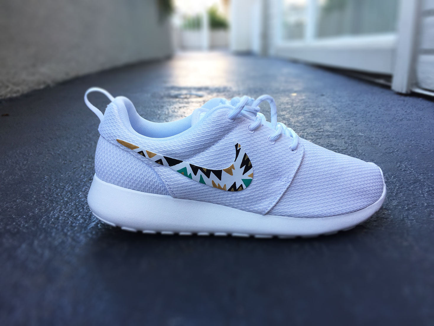 quality design e1a27 13792 Custom Nike Roshe Run sneakers for women, All white, Black and Gold,  Silver, tribal, triangle design, fashionable design