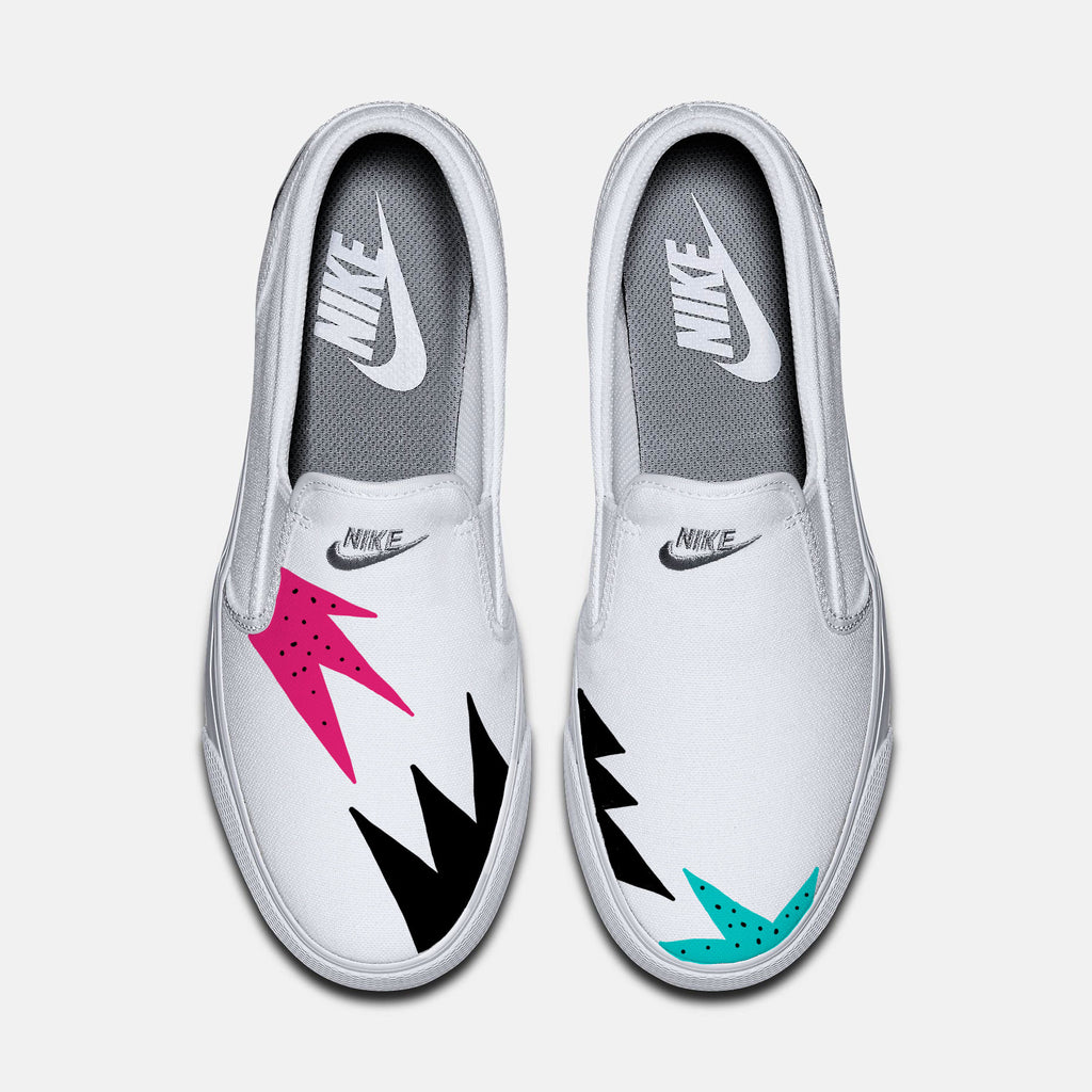 Mens and Womens custom Nike Toki slip on canvas sneakers, Cute trendy design, Pink and Teal, Tiff, tribal design, tribal pattern, hot design