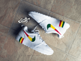 Custom roshe rastafari, white nike roshe rasta customs, mens and womens