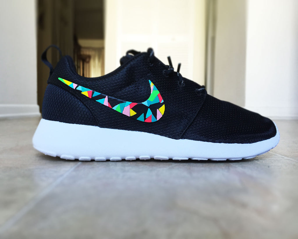 Nike Roshe Run custom hand painted, colorful abstract design, abstract  colors, teal,