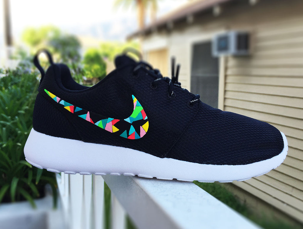 premium selection 4f1d1 cd566 Nike Roshe Run custom hand painted, colorful abstract design, abstract  colors, teal,