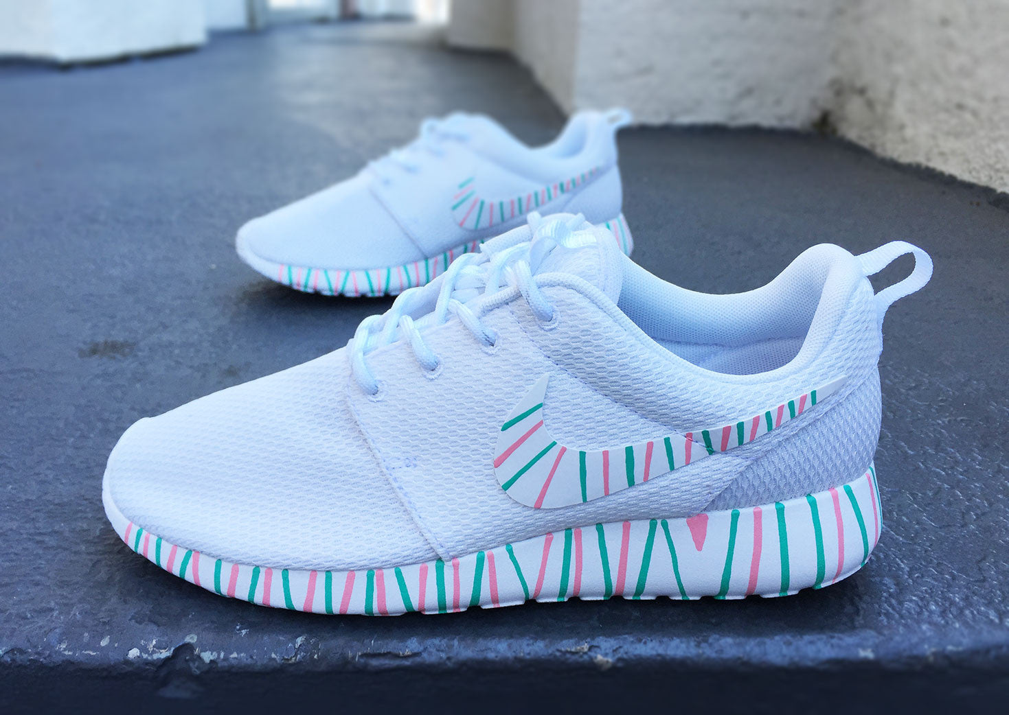 newest 8740c 49a07 Womens Custom Nike Roshe Run sneakers, South Beach teal, Pink petals, Customized  sneakers, Fashionable design, trendy and cute, white on white