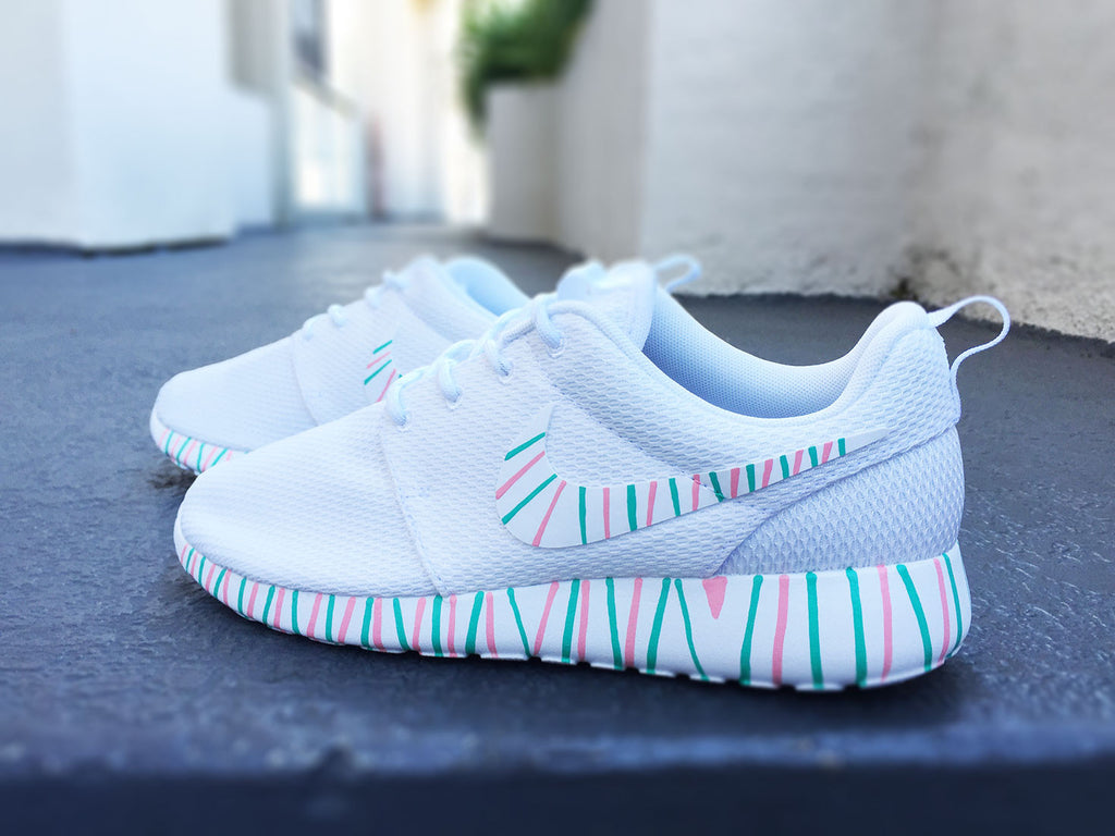new style f2802 44d39 Womens Custom Nike Roshe Run sneakers, South Beach teal, Pink petals, Customized  sneakers