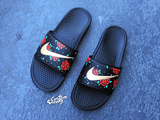 Womens Nike Slider Sandals, Custom Nike Benassi Sliders, Floral, Roses, Swoosh Slide Sandals